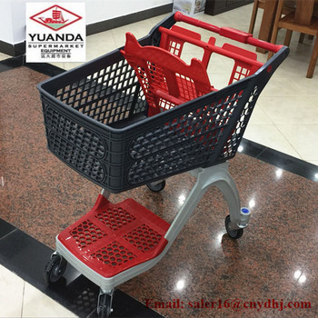 CE New Design Plastic Supermarket Shopping Trolley For Retail Store with 4 Wheels