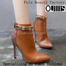 Brown heel ankle boots high quality women ankle boots PF4407