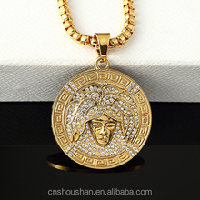 Mens Gold Hip Hop Round Medallion head portrait Rhinestone Pendant Necklace