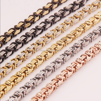 Men Stainless Steel Byzantine Box Silver Gold Tone Chain Necklace