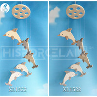 chinese glass wind chimes Cartoon white dolphin star style factory direct whosale chinese craft supplies wind chimes
