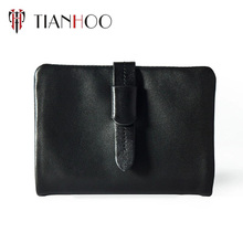 Fashion women's wallet soft genuine leather black bifold card holder wallet with ID window
