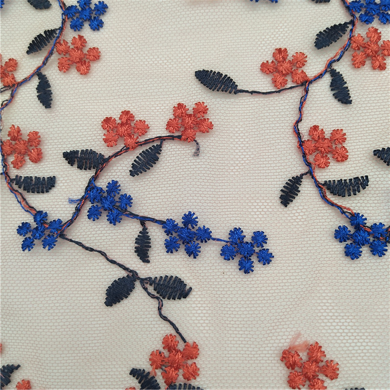 Muti color nylon mesh scallop embroidery lace fabric