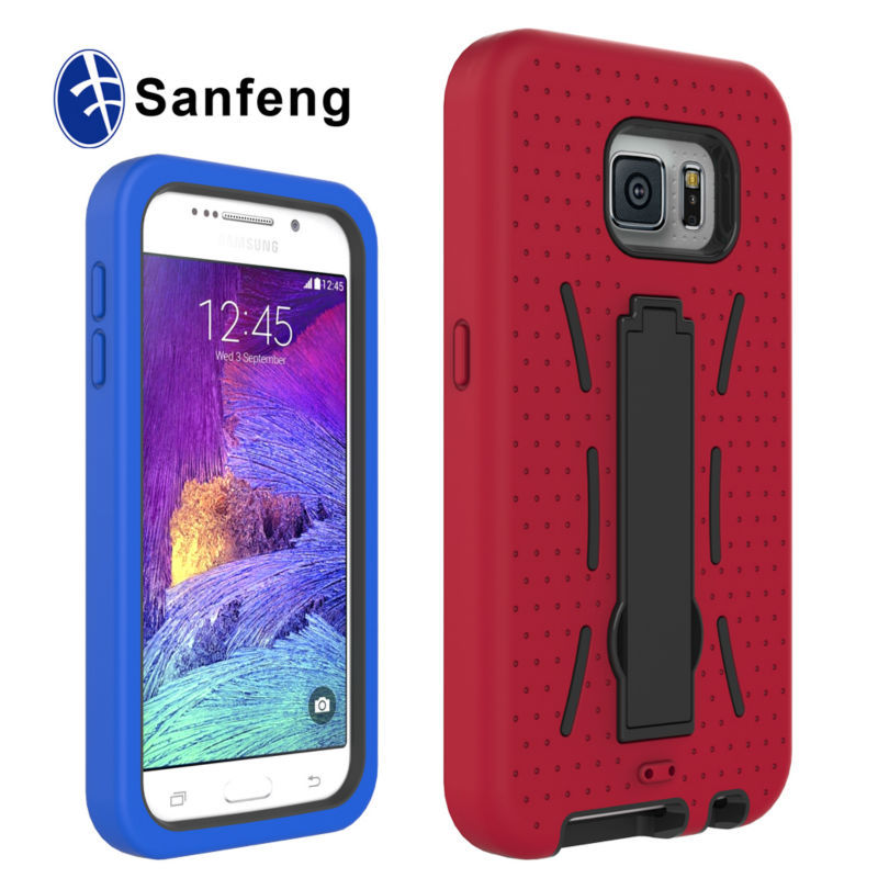 3 in 1 Combo Protective Hard Soft Case with Stand for Samsung Galaxy S6