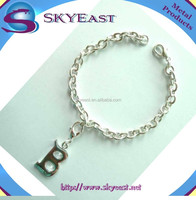 Customized Silver Metal Bracelet Attached Shiny Letter Charms