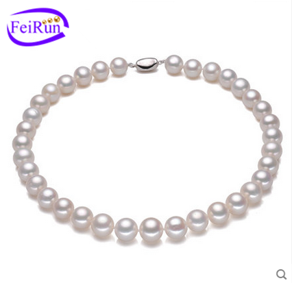 6-7mm high quality perfect round white natural freshwater pearl necklace