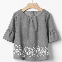 New Arrival Latest design baby Long Sleeve embroidery baby girls blouse 2018