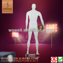 Standing glossy white virtual male basketball mannequin