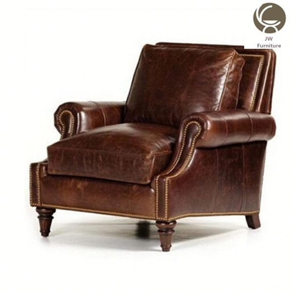 Antique chesterfield living room bedroom Furniture brown leather leisure Chair luxury coffee shop signle sofa wing chair