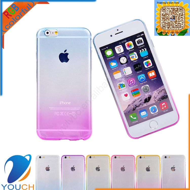 Transparent colorful soft tpu silicone color change shadow rainbow phone call case for iPhone 6 6s 6 plus 6s plus