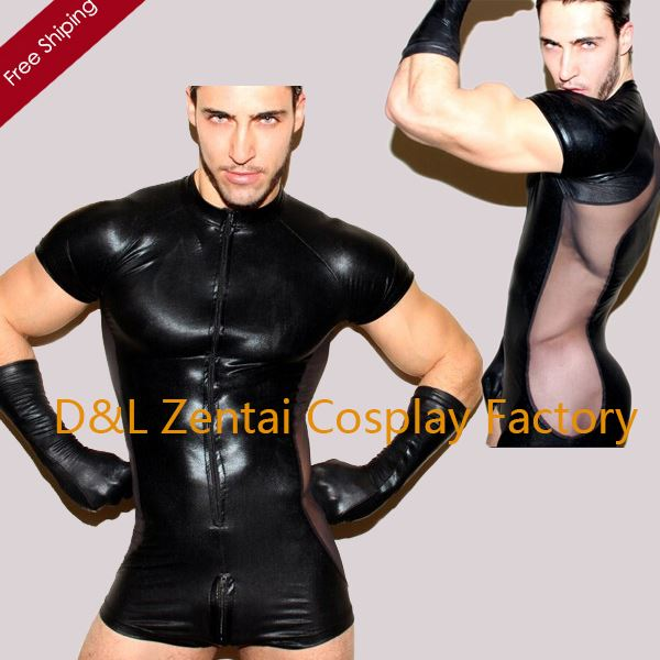 MOON BUNNY Sey Black One-Piece Shiny Metallic Zentai Catsuits Sey Zentai Leotard For Men wholesale MOQ 1set
