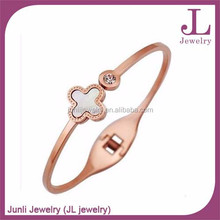 Ready Stock Jewelry Clover Rose Gold Plated Bracelet 316L Stainless Steel Bracelet