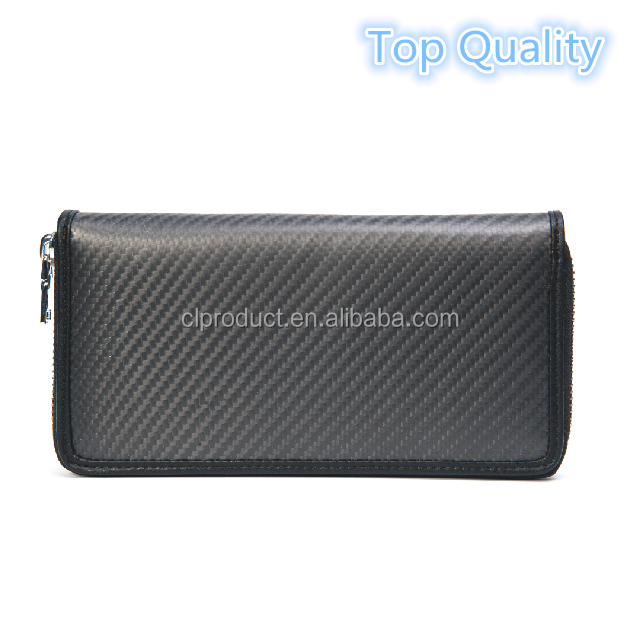 Fashionable Man's Carbon Fiber Genuine Leather <strong>Wallet</strong>