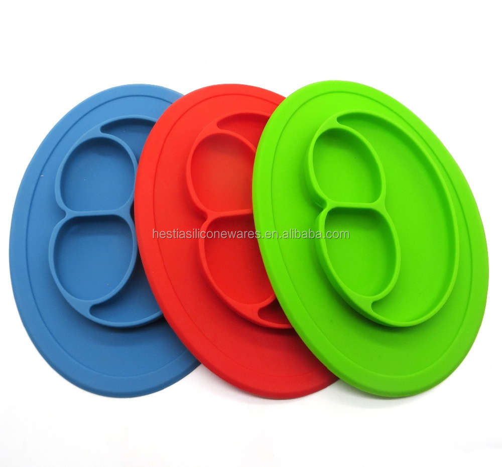 amazon bestseller FDA food grade bpa free suction happy face oval kids feeding silicone baby placemat