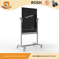 Commercial Use Metting Room School Tilt Adjustable Tempered Glass Thick 8mm Mobile Black Writing Glass Board