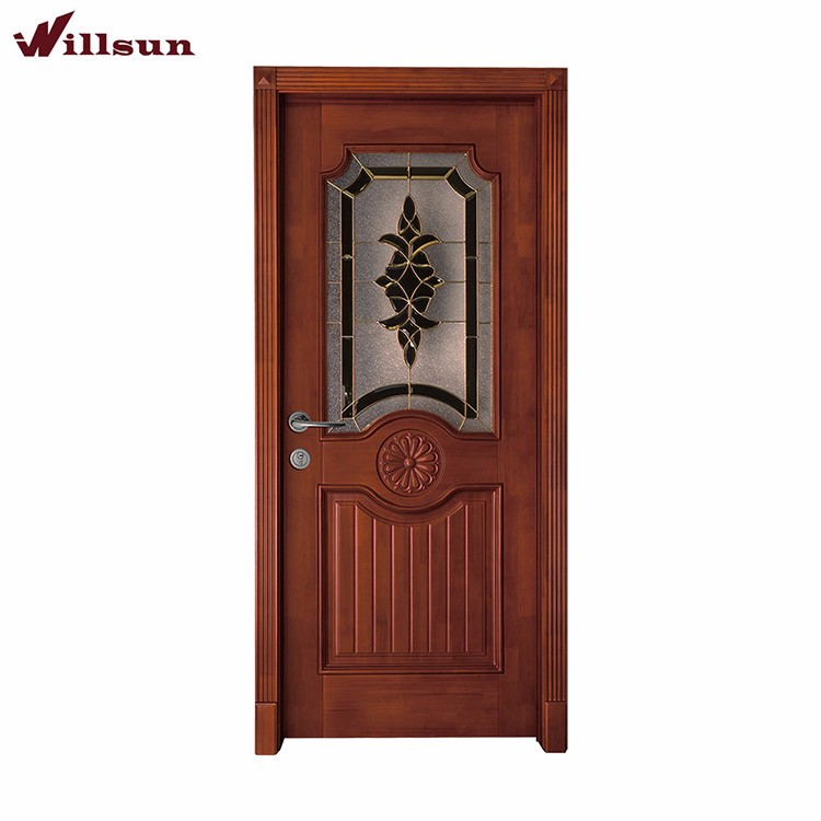 Office room internal half glass used solid wood swing door designs
