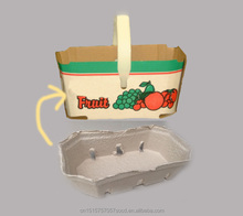Plastic handle Molded Pulp Fruit Basket Container box
