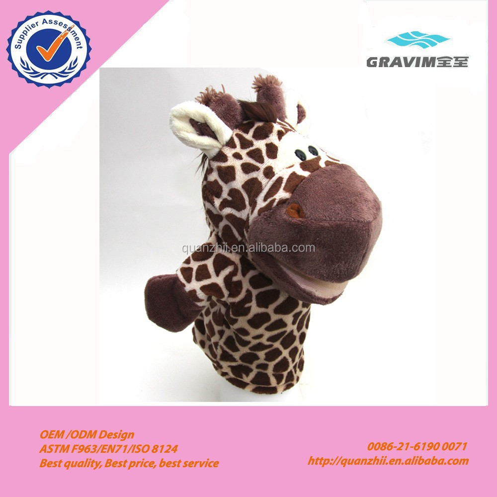 Cheap soft animals cute giraffe plush hand puppet
