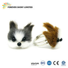 Wholesales Small Capsules Egg Toys Animal Metal Jewelry Dog Puppy Furry Style Ring for Vending Machines