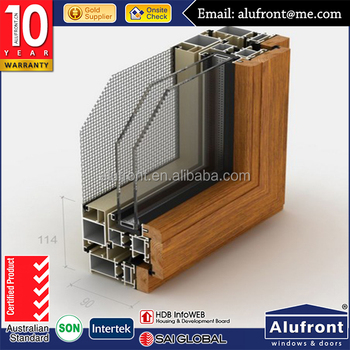 Top Quality KAN90 Series Aluminum Cladding Wood Profile for Tilt&Turn Window with Security Mesh