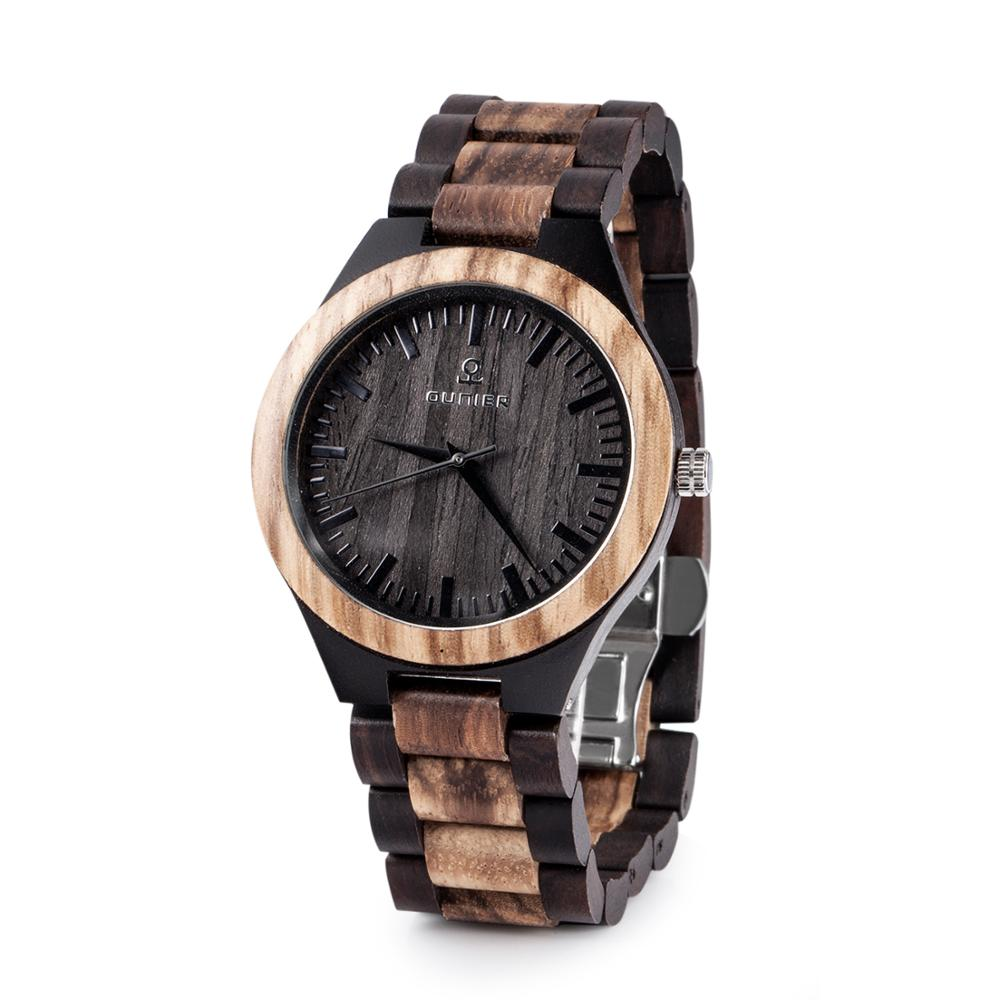 Chinese wholesale black sandal and zebra wood men's watch