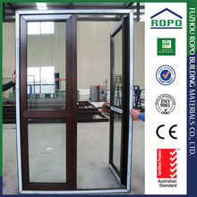 Promotional prices UPVC red wood color unequal double door