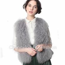CX-G-B-191A Women Genuine Curly Mongolian Lamb Fur Vest