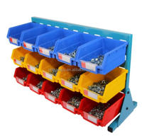 Small parts storage wall mounted plastic storage bin workable with rack