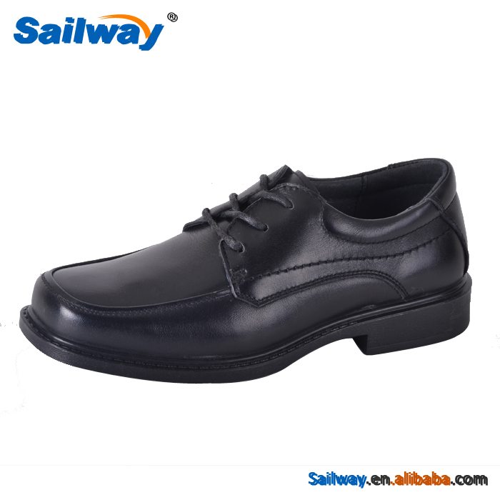 black action leather lace up style pu outsole formal shoes for boys