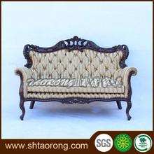 Carving wood classic fabric sofa
