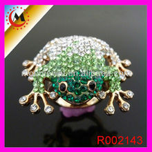 5% DISCOUNT IMITATION JEWELLERY GOLD PLATED,CUTE RHINESTONE ANIMAL RING,FROG RING