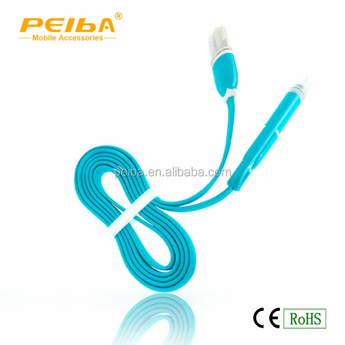 High Quality 2 in 1 TPE Charger Cable Flat Mico USB Data Cable For Mobile Phone smart phones and tablet pc