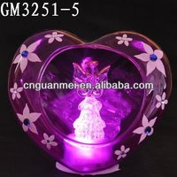 valentine glass craft decoration with led light and an angel inside
