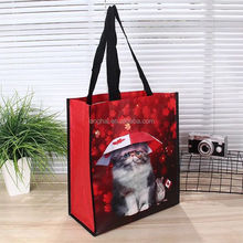 Custom polyester recyling flower reusable environment-friendly folding nylon shopping bags in
