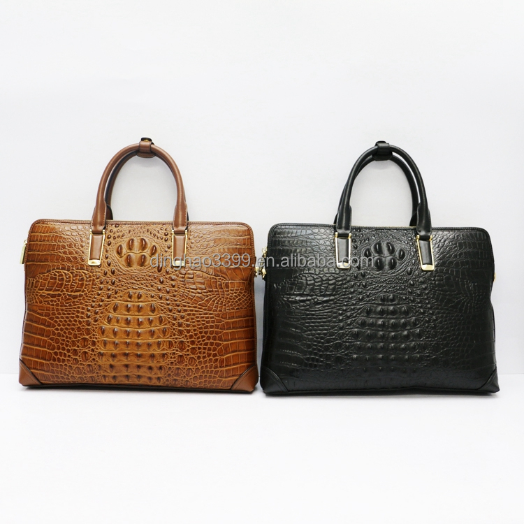 New men's briefcase crocodile grain bag black PU leather briefcase