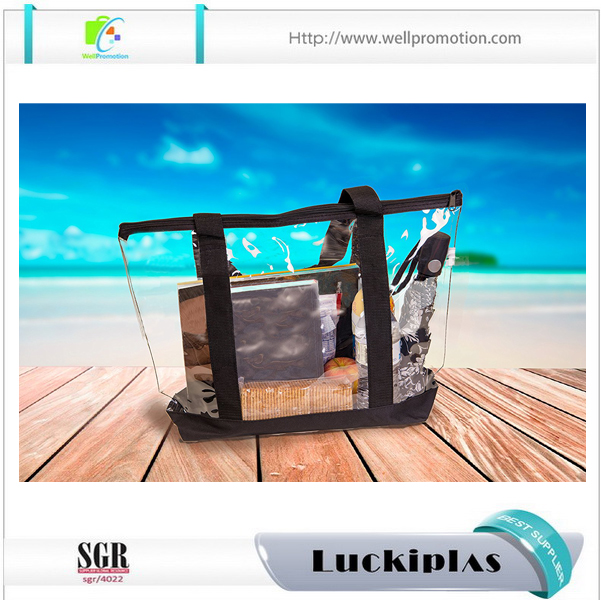Women custom beach plastic tote bag ,wholesale clear PVC tote bags for promotion