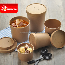 Custom printed disposable PLA hot soup bowls, kraft paper soup cup