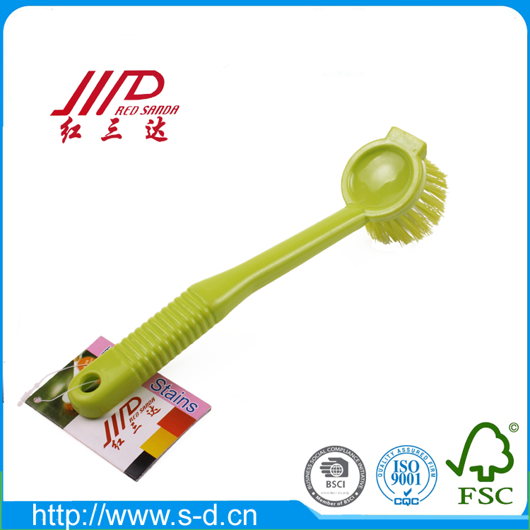 factory direct plastic handle dish pan cleaning brush,22.5cm
