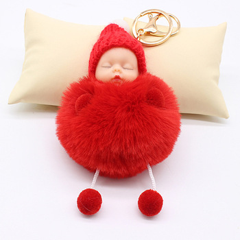 AP10134 Pom pom key chain women car bag key holder pendant faux rabbit fur pompom sleep baby keychain