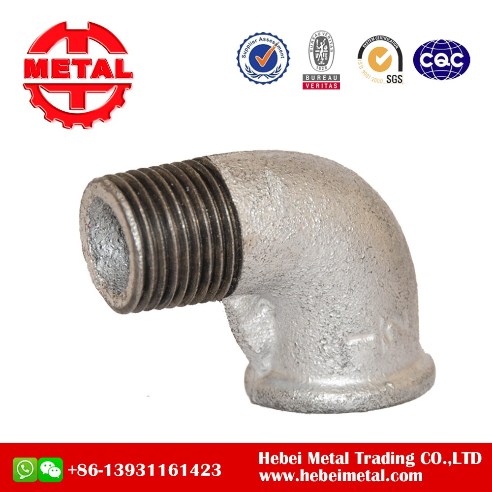 galvanized Malleable Iron Pipes Fittings 90 degree elbow