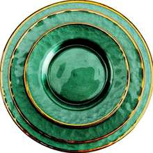 Dark green gold-rimmed glass Western dish <strong>flat</strong> plate European tableware hotel design display plate creative palace wind plate