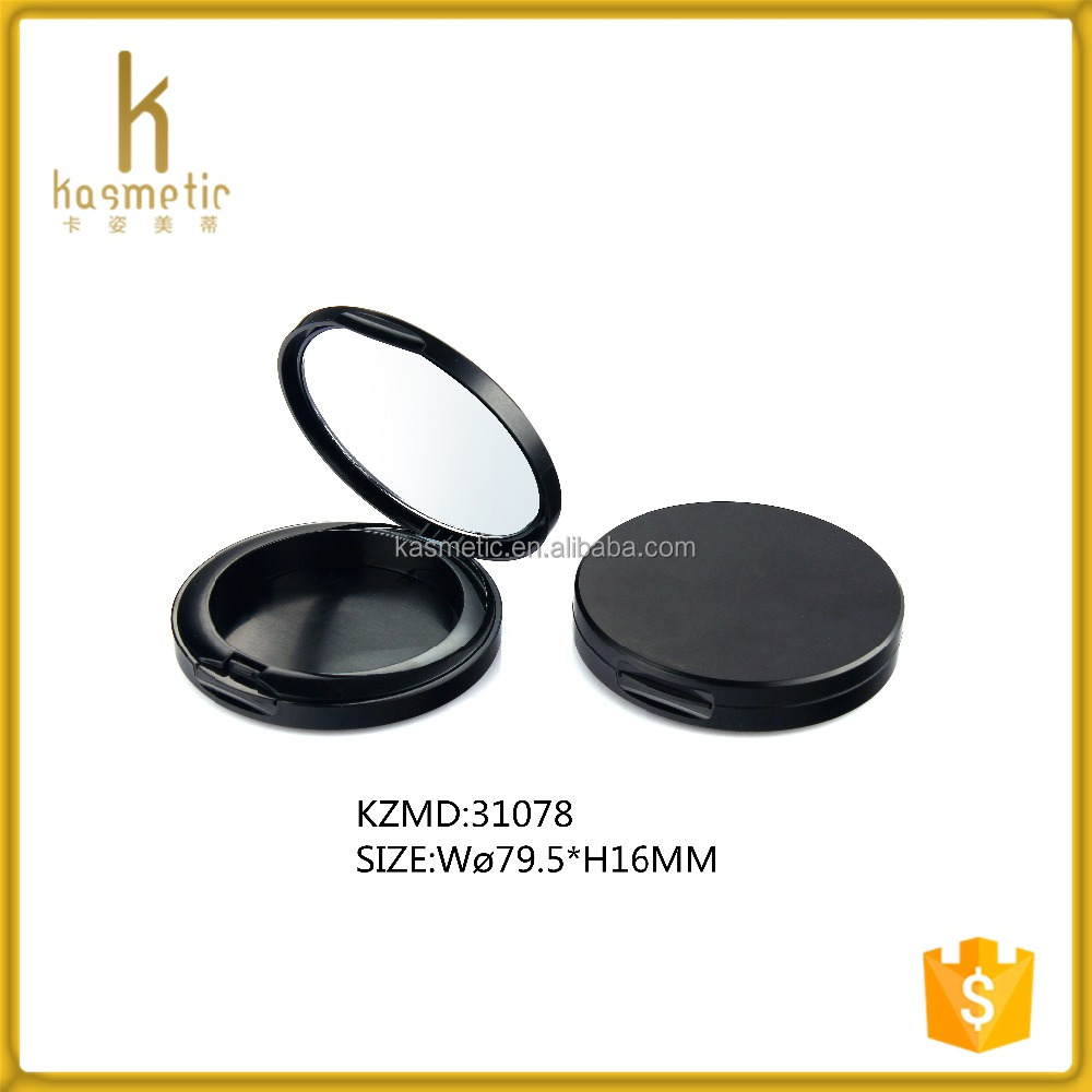 Black blush container round empty compact powder container with mirror KZMD31078