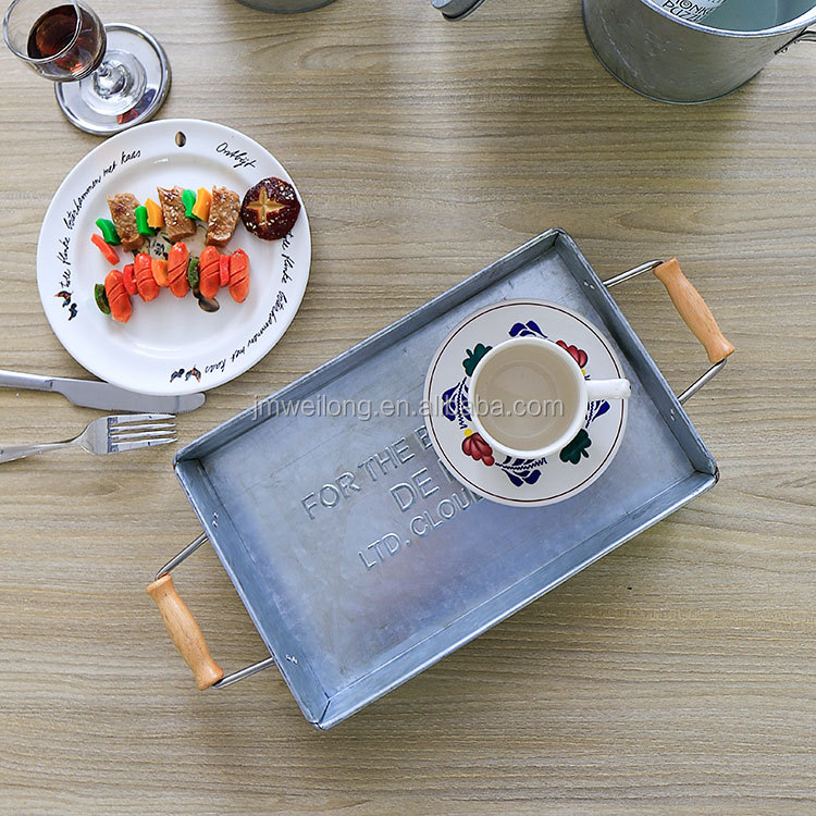 Wooden Handle Galvanized Metal Rectangular Serving Tray