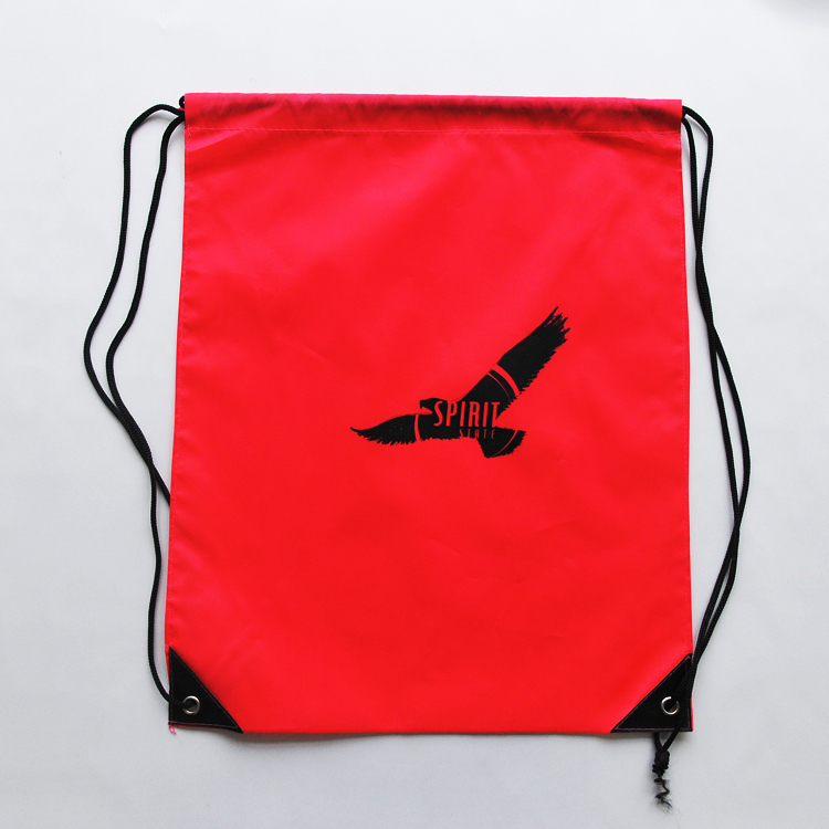 Red Background Color Drawstring Bag With Eagle or Hawk Pattern