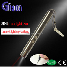 stainless sheet led torch keychain with ball pen