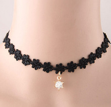 Korean Girls Fashion Necklace Black Lace Fabric Choker Necklace Wrap Neck Jewelry Accessory