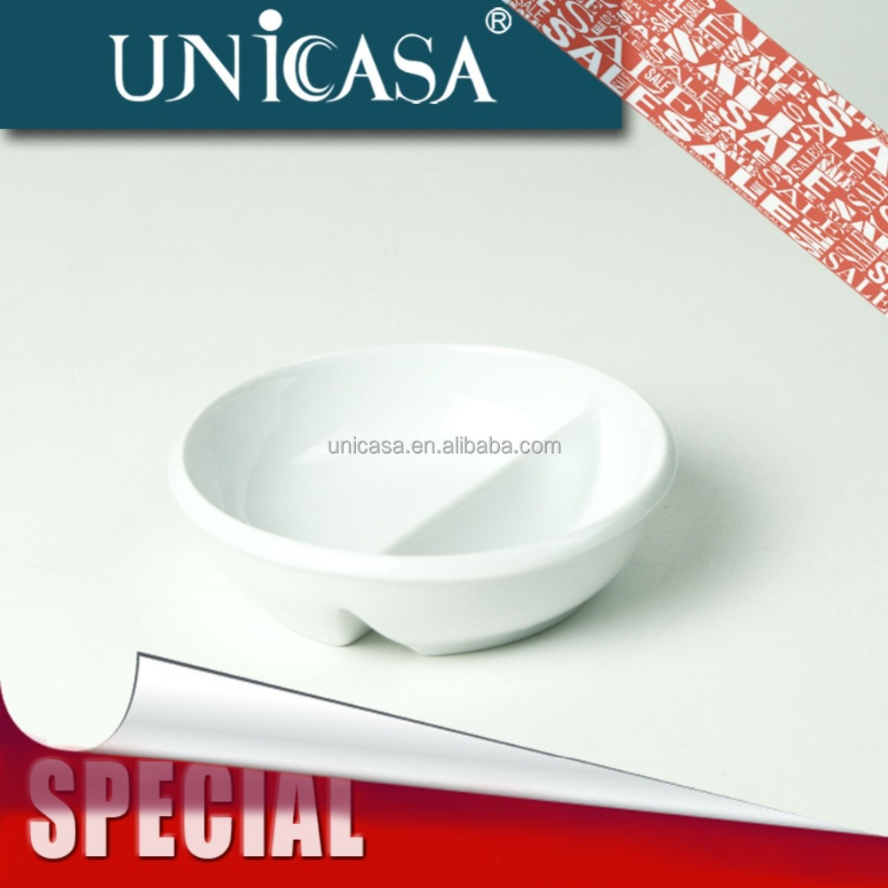 UNICASA Ceramic white porcelain soy sauce dish,snack dish,chip and dip dish