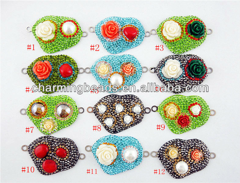 CH-JAB0375 new arrival fashion flower rhinestone connector charm,stainless steel base connector,jewelry charm