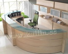 KL-RT014 modern with glass top solid wood high quality trade assurance customized office reception table design