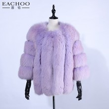 Lady's fashion outwear real fox fur short coat fox coat for women